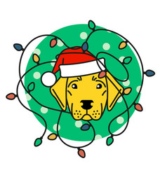 Labrador in santa hat with christmas lights vector