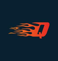 letter q flame logo speed logo design concept vector image