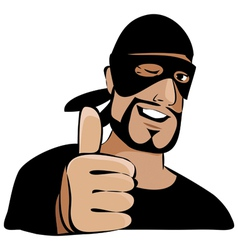 Man in black mask with thumb up vector image