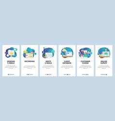 Mobile app onboarding screens digital online vector