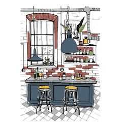 Modern cafe interior in loft style hand drawn vector