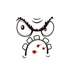 Monster face cartoon icon grumpy creature vector