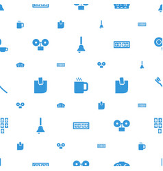Morning icons pattern seamless white background vector