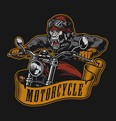 Motorcycle colorful print vector