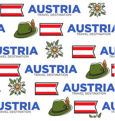 national flag hat and flower austrian symbols vector image