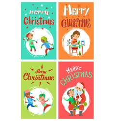 new year holidays merry christmas postcards set vector image