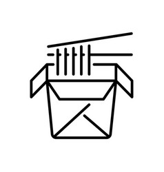 noodles in paper box and chopsticks thin line icon vector image