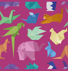 Origami style of different paper animals seamles vector