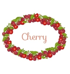 Oval frame made of Cartoon cherry vector image