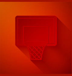 Paper cut basketball backboard icon isolated on vector