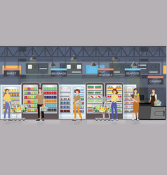 People shopping in supermarket interior with vector