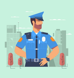 police officer man of police force standing full vector image