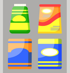 products in packages set food in can vector image