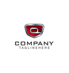 Q letter shield logo template black and red color vector