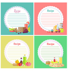 recipe book blank empty space for dishes notes vector image