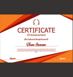 Red and orange certificate or diploma template vector