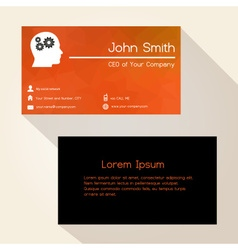 Red low polygon paper like business card design vector