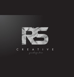 Rs r s letter logo with zebra lines texture vector
