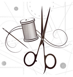 Scissors and needle with thread silhouette vector