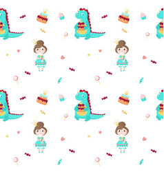 seamless pattern with beautiful princess vector image