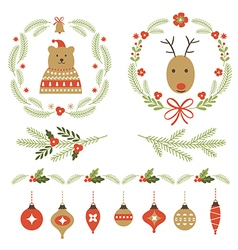 set christmas graphic elements and ornaments vector image