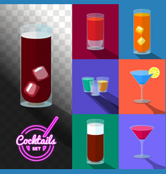 Set cocktails in transparent glasses vector