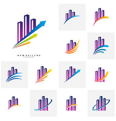 set modern city logo concepts corporate vector image