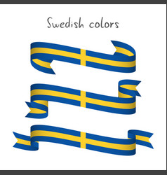 set of three ribbons with the swedish colors vector image