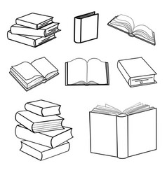 Set sketches books vector