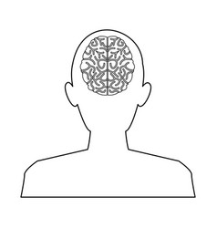 Silhouette man brain think idea knowledge vector
