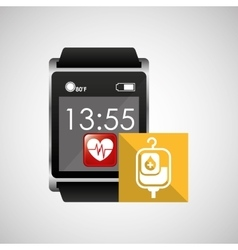 Square smart watch health bag blood vector