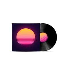 synthwave vaporwave retrowave music lp vinyl disc vector image