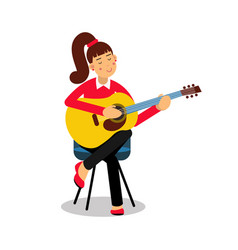 teenage girl playing an acoustic guitar cartoon vector image