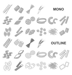 Types of pasta monochrom icons in set collection vector