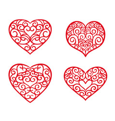 valentine day set hand drawn hearts vector image