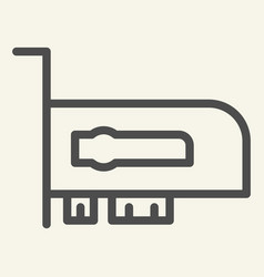 Video card line icon hardware vector