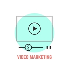 Video marketing with thin line player vector