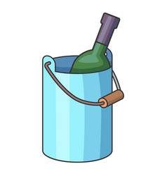 wine bottle with ice bucket icon cartoon style vector image