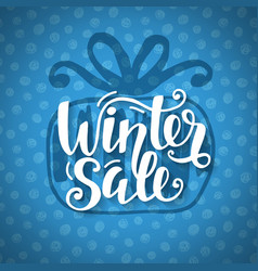 winter sale banner with hand lettering vector image