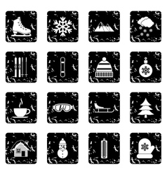 Winter set icons grunge style vector image