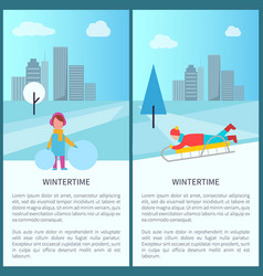 wintertime childish activities vector image