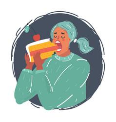 woman eat big peace cake vector image