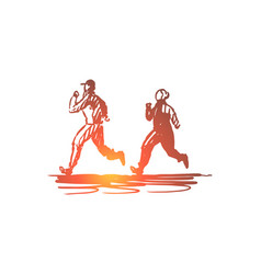 Woman old couple running sport concept hand vector
