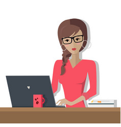 working day woman planning her work for a week vector image