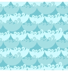 Blue water curly waves seamless pattern vector