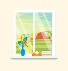 cartoon windows farm landscape view vector image vector image