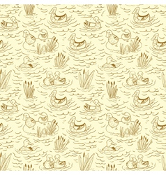 doodle seamless pattern with ducks and reed vector image vector image