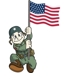 soldier holding usa flag vector image vector image