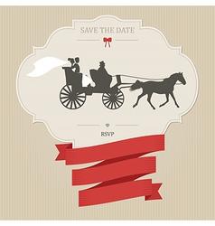 Vintage wedding invitation with retro carriage vector image vector image