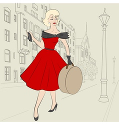 woman in europe in 50s vector image vector image